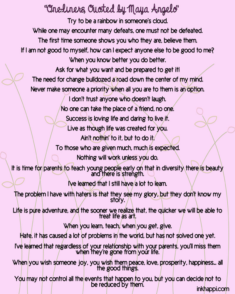 Some Poems From Maya Angelou S Letter To My Daughter