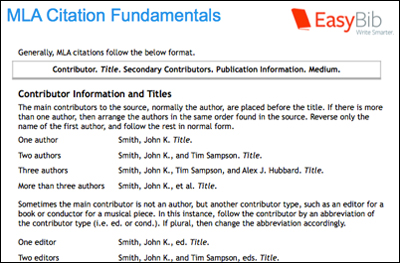 Website citations within an essay