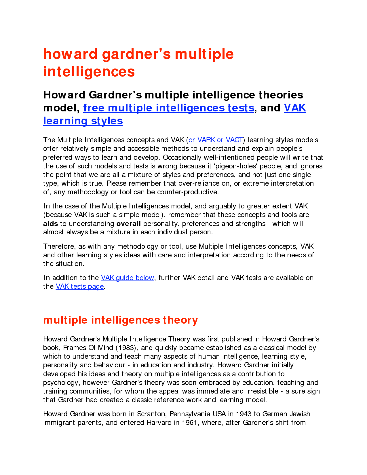 multiple intelligences and learning styles pdf
