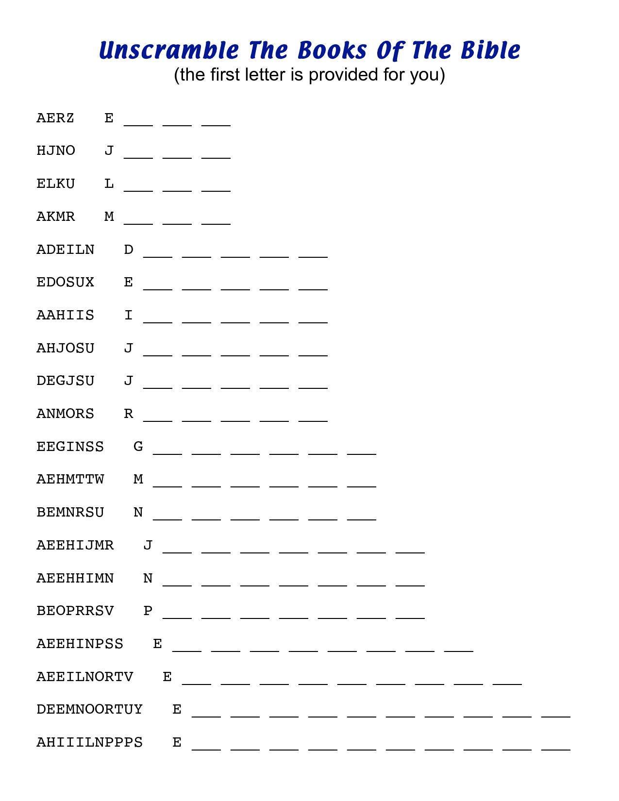 Unscramble  Letter Words Worksheet