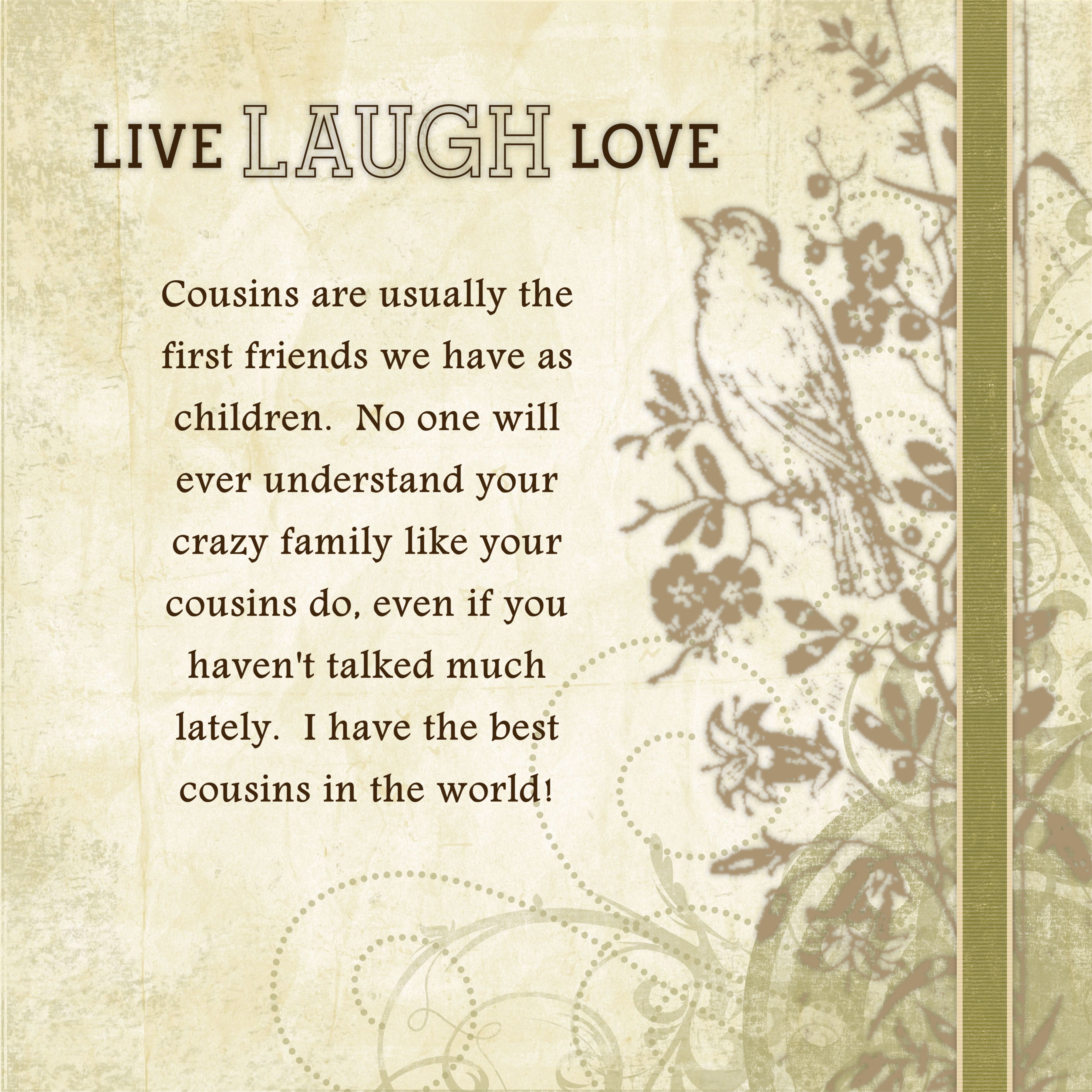 I Love You Quotes: Cousin Quotes And Sayings. QuotesGram