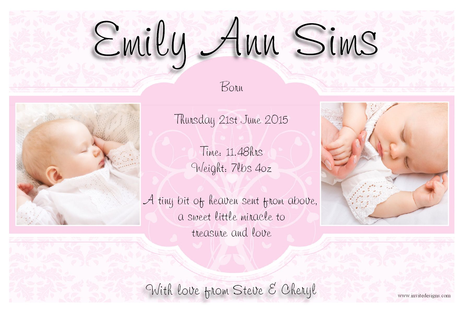 baby girl birth announcements quotes  quotesgram