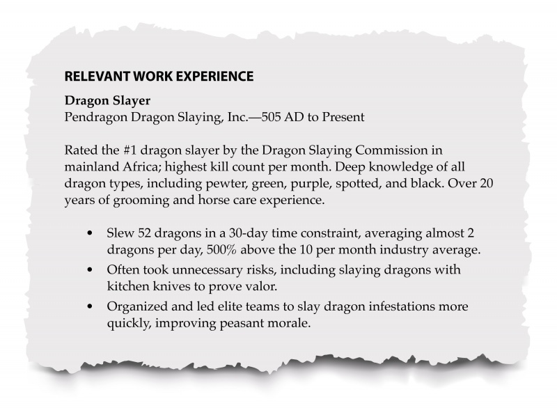 Resume relevant experience section