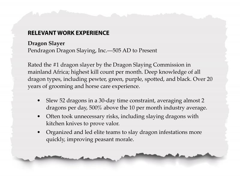 Resume relevant work history