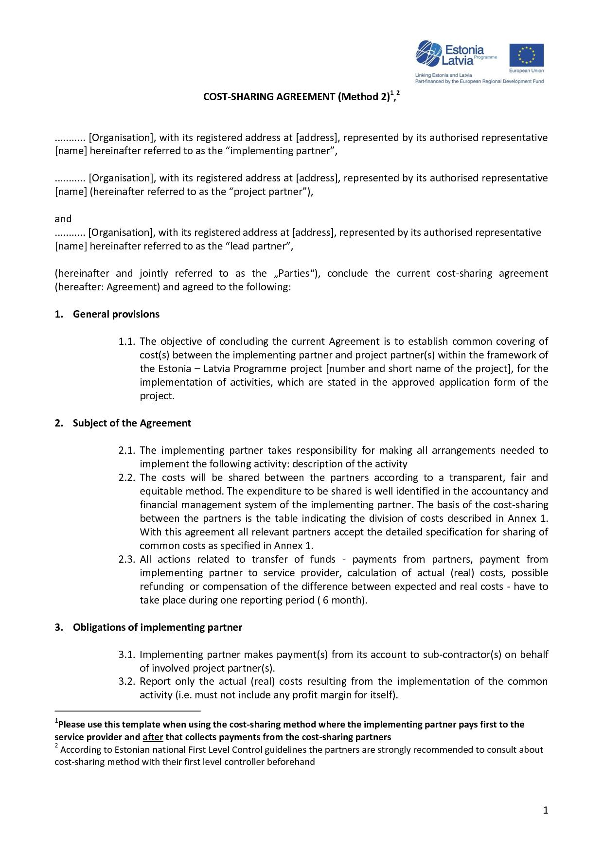 Doc585620 Sample Profit Sharing Agreement Sample Profit – Profit Sharing Agreement Template