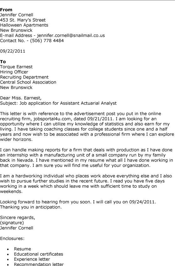 Sample cover letter for Internship position at Mercer