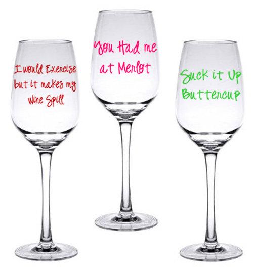 Cute Painted Wine Glasses