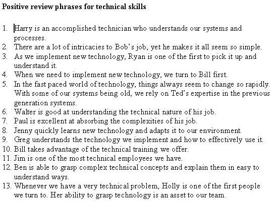 Doc.#638826: Self Performance Review Example – Technical support ...
