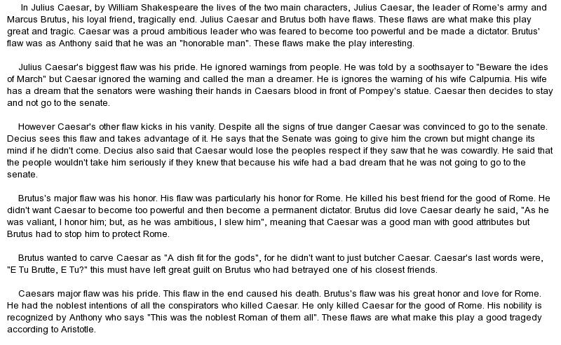 Relationships in julius caesar essay