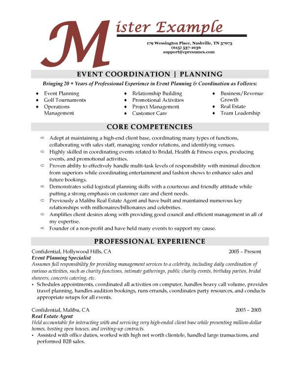 Resume for event manager sample