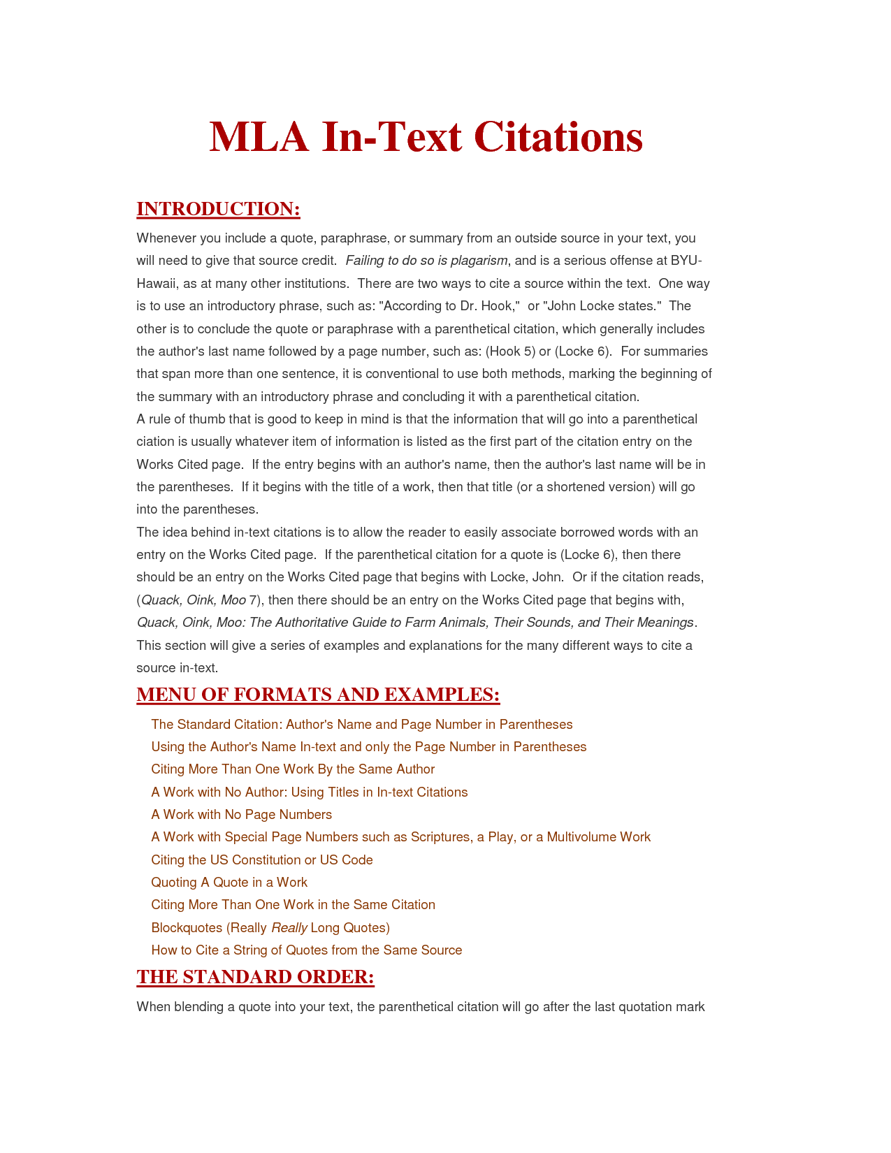 mla parenthetical citation essay