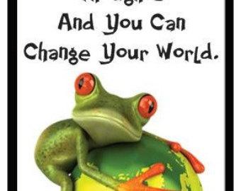Fridge Magnet Funny Motivational Quote KNOWLEDGE FROG LOGIC