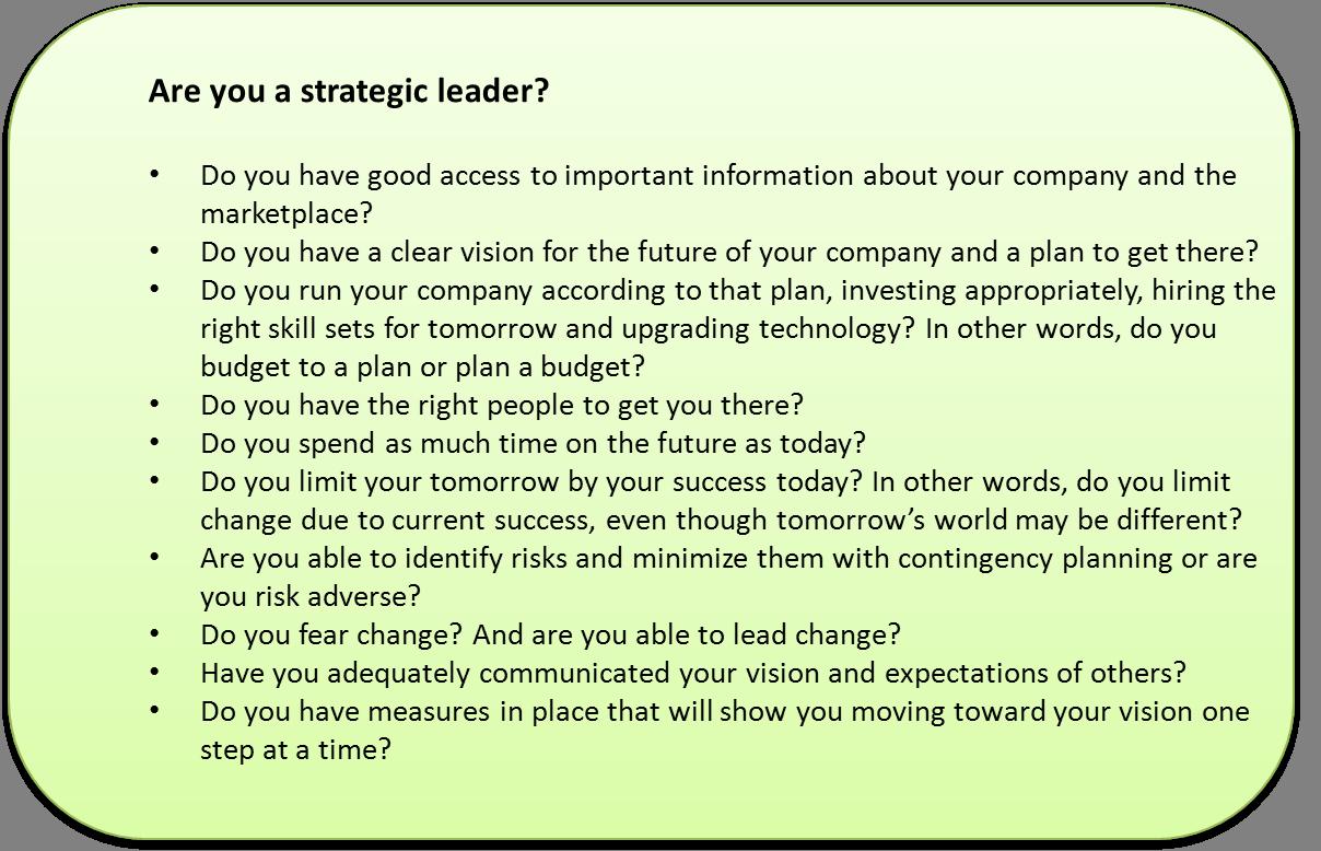 strategic leadership essay Strategic leader competencies essay no works cited strategic leadership essay example - strategic leadership the only thing harder than being a strategic.