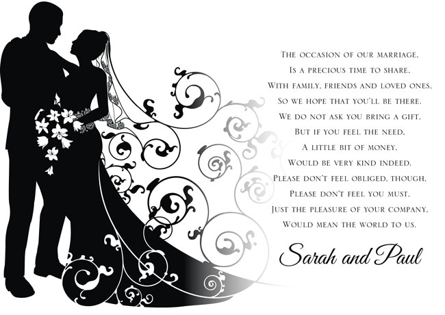 Wedding Gift Poems Asking For Money Towards Honeymoon: Black And White Wedding Poems And Quotes. QuotesGram