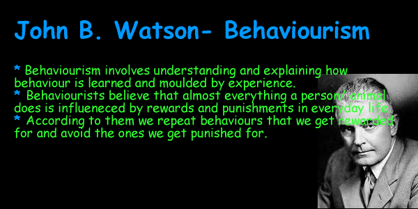 john b watson John b watson (1878 - 1958) john broadus watson (january 9, 1878 - september 25, 1958) was an american psychologist who established the psychological school of behaviorism watson promoted a change in psychology through his address, psychology as the behaviorist views it, which was given at columbia university in 1913.