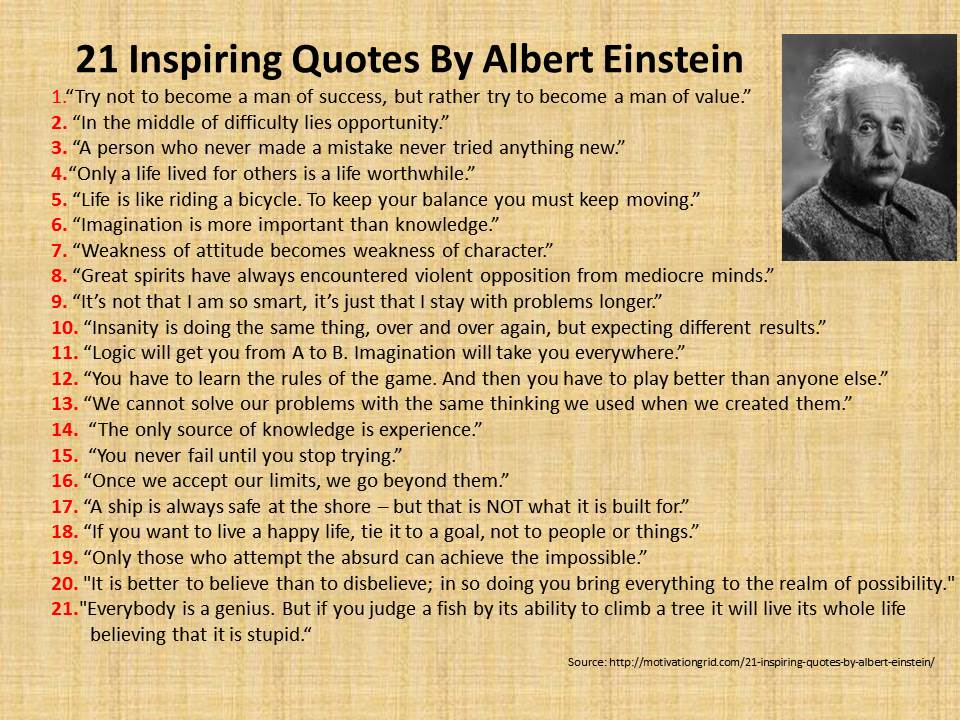 inspirational quotes by albert einstein quotesgram