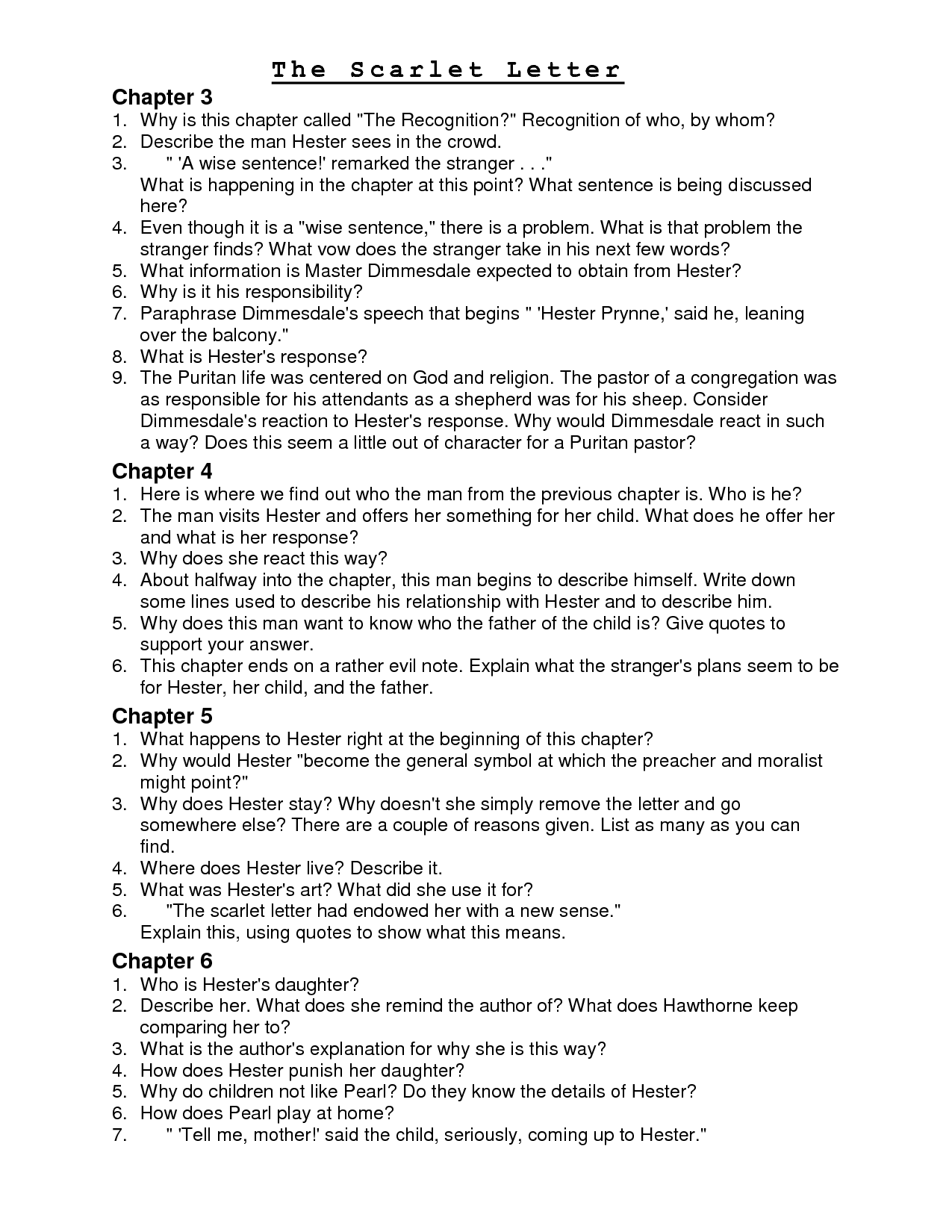 scarlet letter questions informatin for letter scarlet letter study guide informatin for letter the