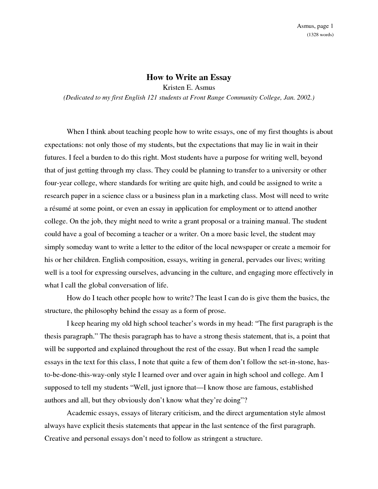 Example of one paper essay