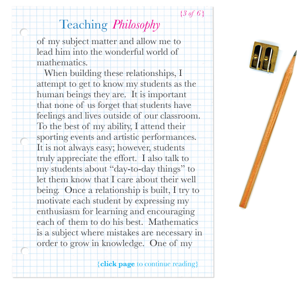"""the life and philosophy of a teacher My leadership philosophy leadership for ms science teacher coach"""" to train and guide them through their first year of teaching life did the 9th grade."""