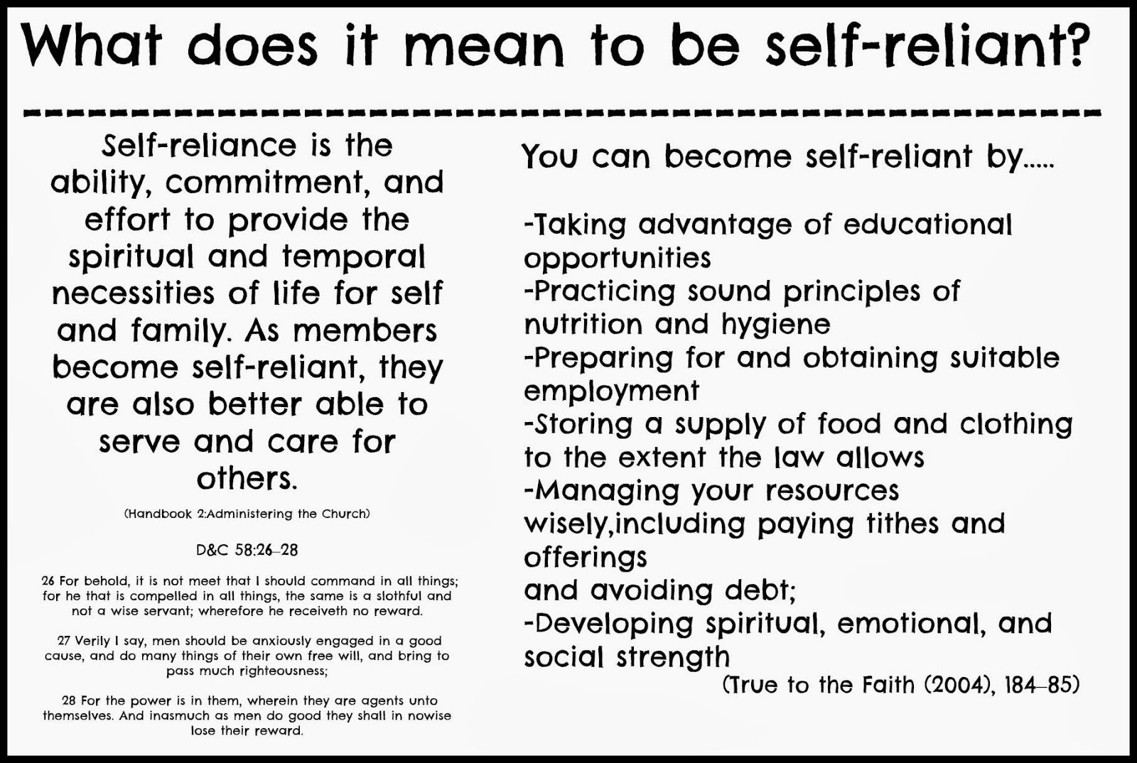 self relience Self-reliance is ours and we must first use it for our own betterment self-reliance had been learnt in the hard school of adversity give a youth wealth, and you only too often destroy all self-reliance which he may possess.