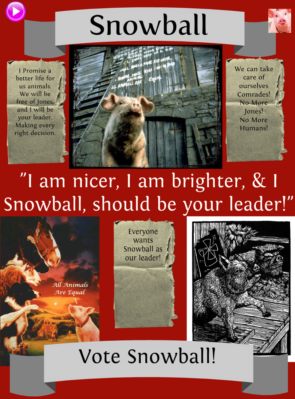 animal farm speech snowball The distinguishing mark of man is the hand, the instrument with which he does all his mischief -snowball snowball was a major figure in animal farm politics until he was exiled from the farm.