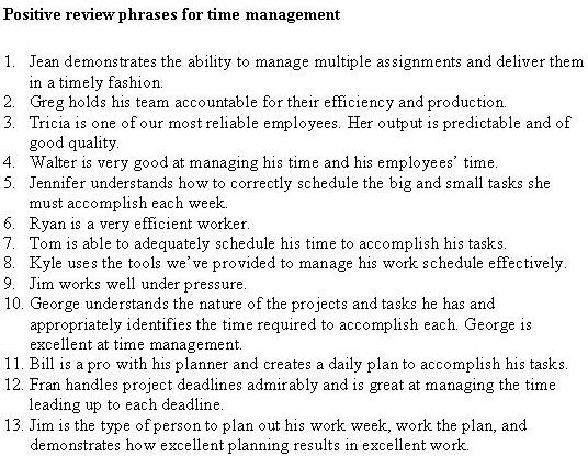 time management self evaluation Employee performance evaluation employee's name (last, first, mi): work habits/time management communication comments: part ii: behavioral traits demonstrates good judgment, makes reasonable decisions, practices self-control thinks before acting.