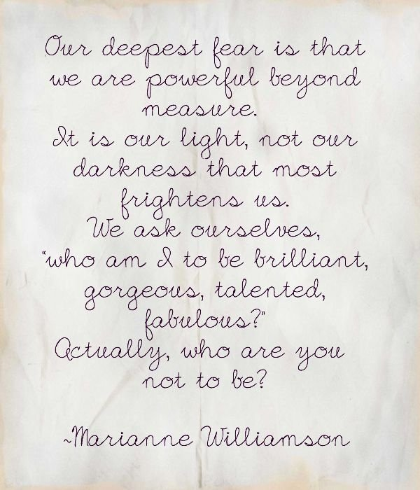 We Fear What We Don T Understand Quote: Our Deepest Fear Marianne Williamson Quotes. QuotesGram
