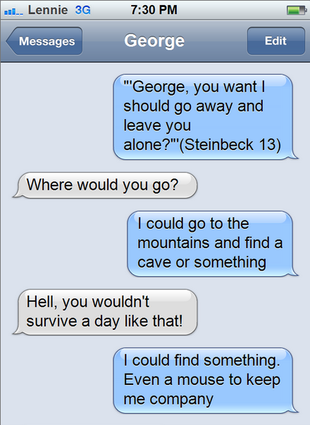 george and lennies unlikely friendship Discuss how steinbeck presents george and lennie s relationship in sections 1 and 2 steinbeck portrays the relationship between george and lennie as very men on earth the fact that george and lennie travel together highlights the strangeness and importance of this unlikely friendship.