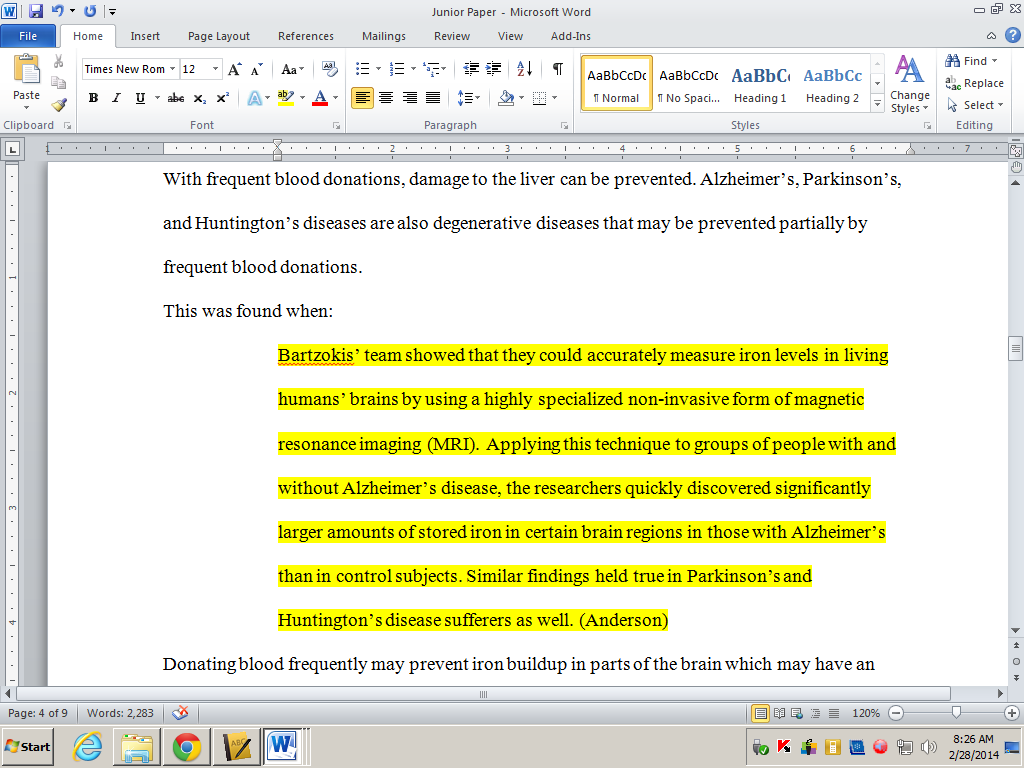 Quoting in research papers format