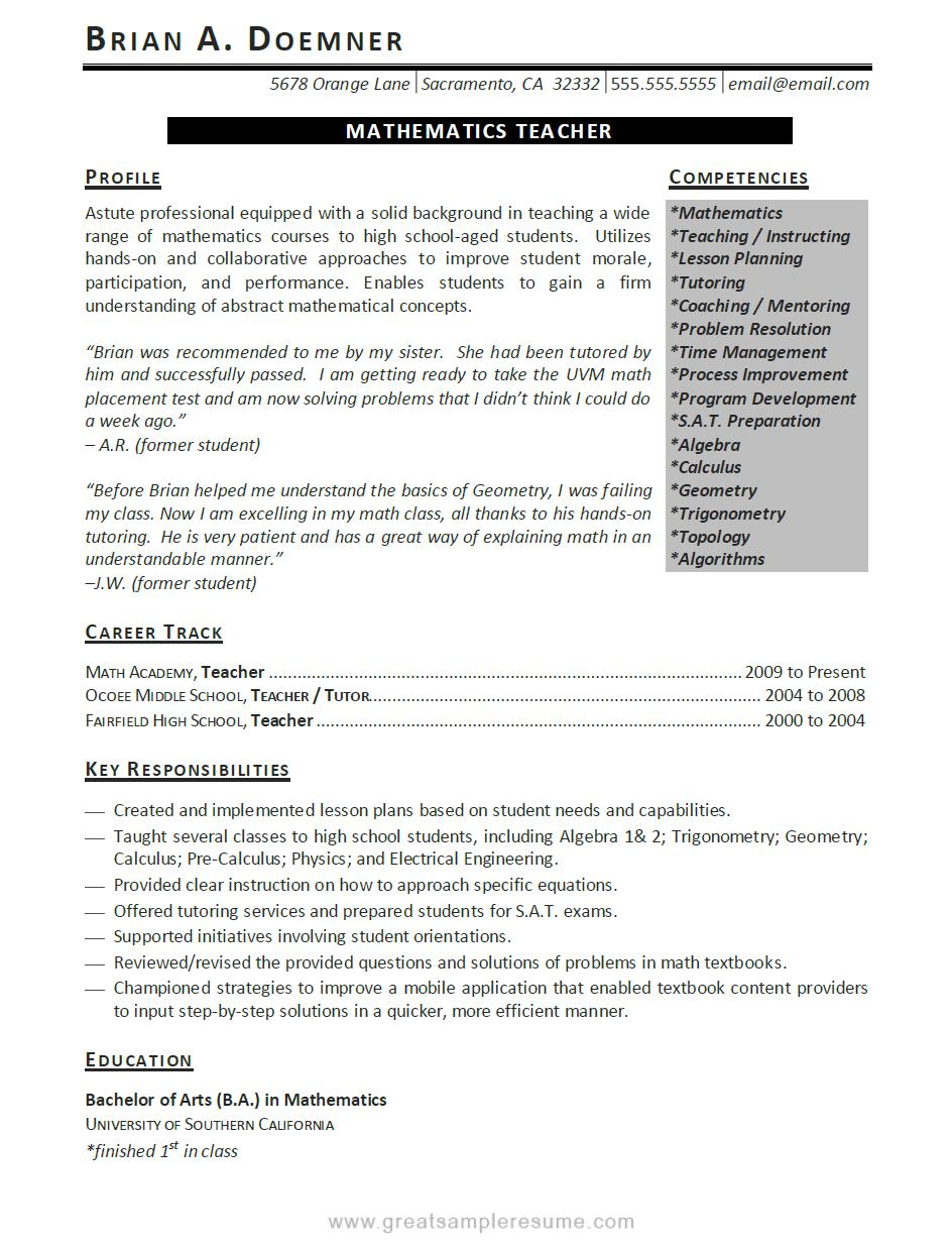 Resume teacher