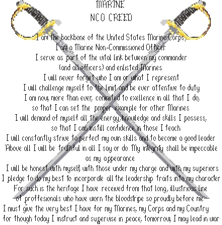 marine corps nco creed means to me Nco creed- sgt hunter - duration:  what it means to be an nco - duration:  united states marine corps recruit training - duration:.