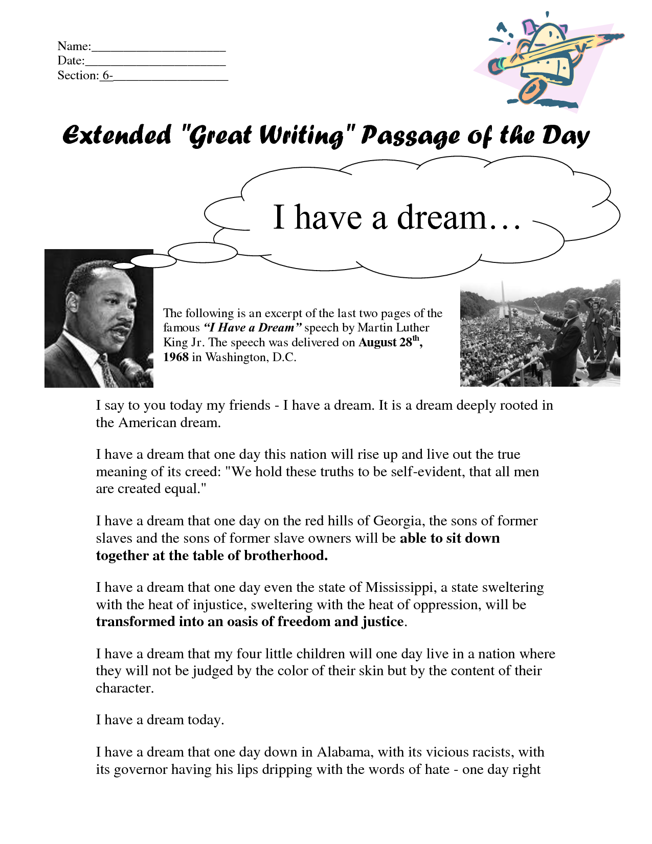 Uncategorized I Have A Dream Speech Worksheet picture collection how to annotate i have a dream speech quotes quotes