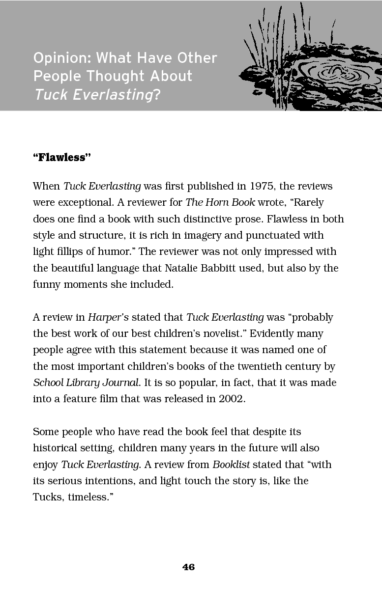 tuck everlasting essay book report on tuck everlasting