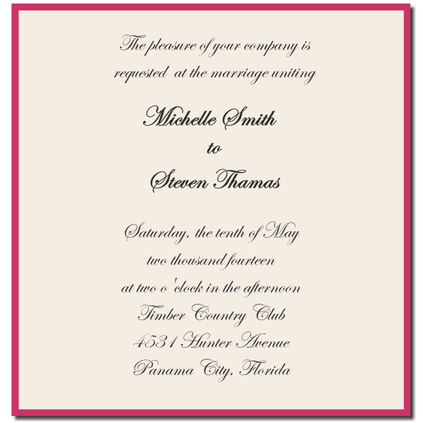 Reception Invitation Wordings By Bride