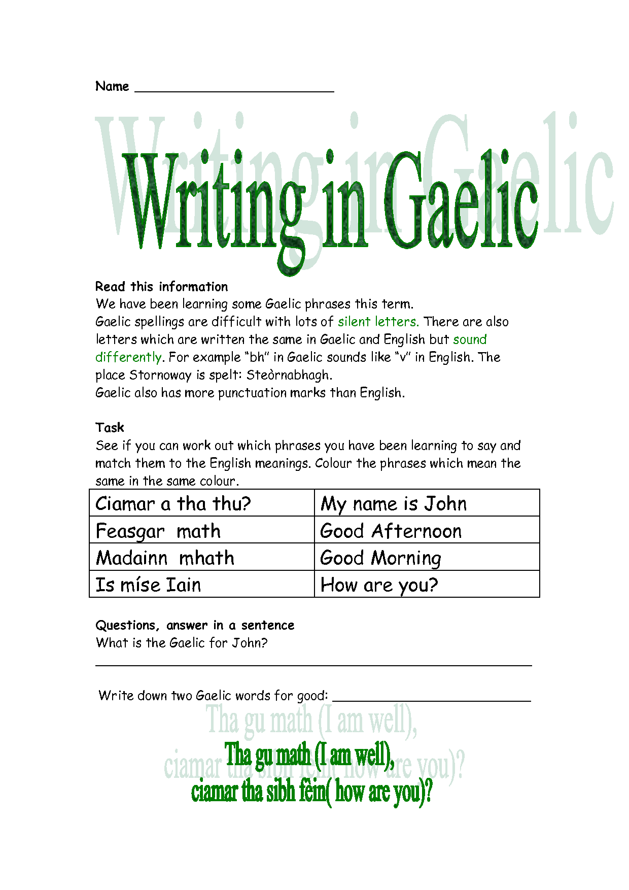 How to read and write gaelic - Gaelic Quotes And Meanings Quotesgram