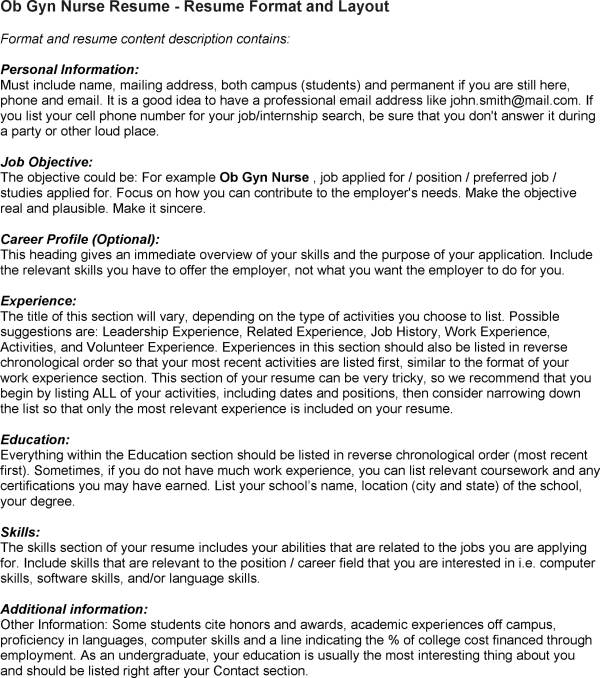 sample ob gyn resume