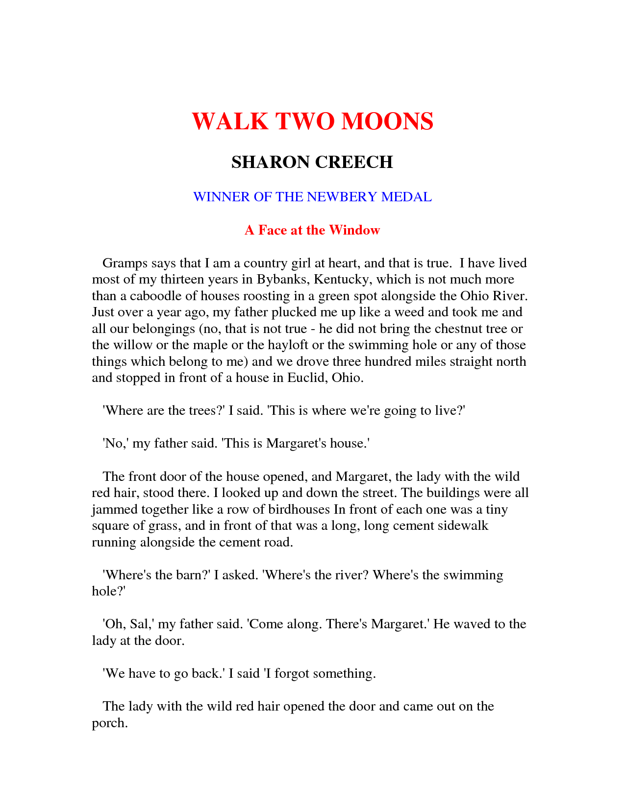 book report walk two moons  book report walk two moons