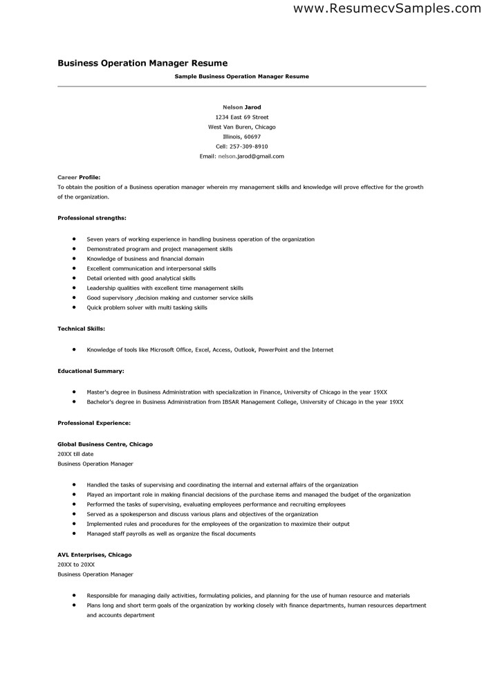 Sample resume business management student