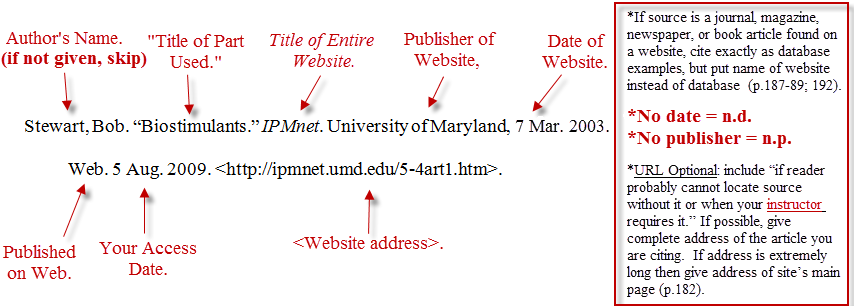 mla format citations for websites How can the answer be improved.
