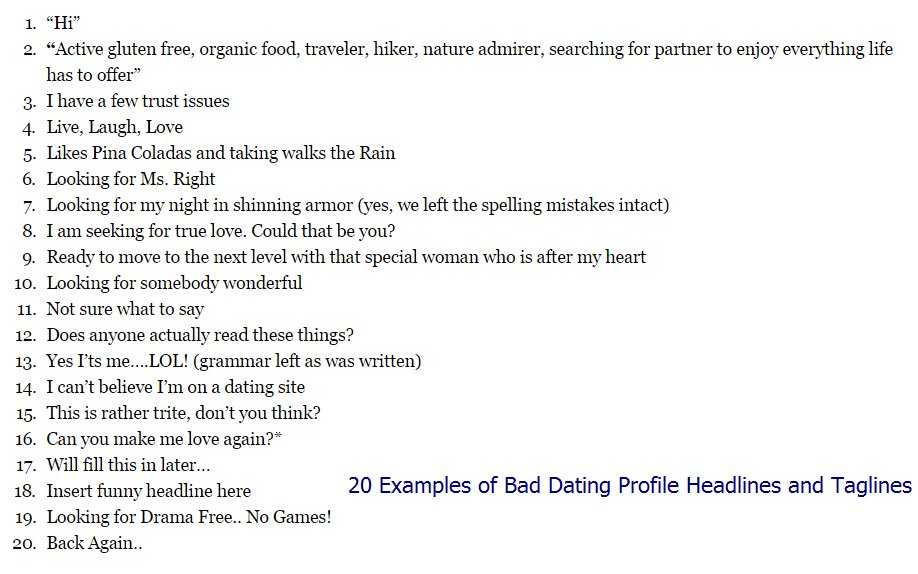 "what are good headlines for a dating site How to write an online dating profile • the headline 25 thoughts on "" how to write an online dating profile • the headline "" sassy and with a good."
