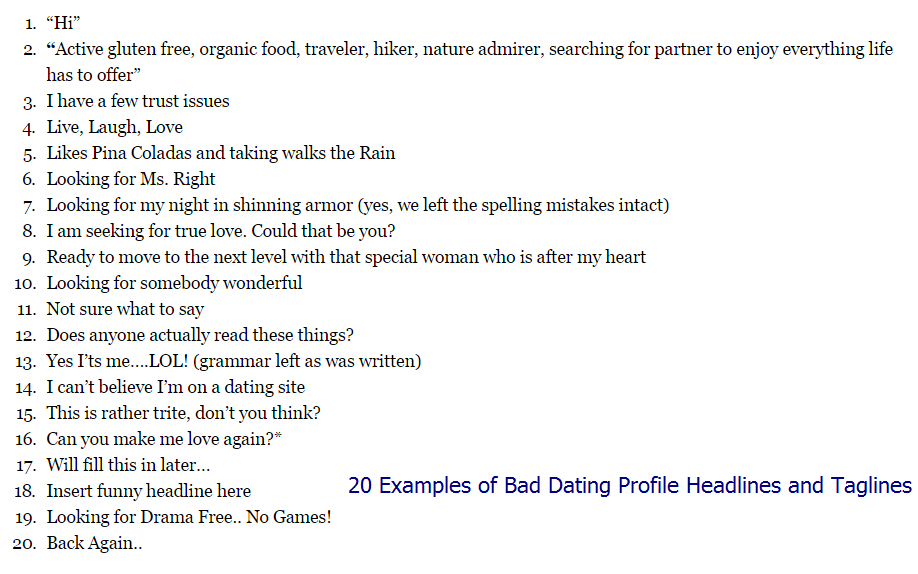 Taglines for dating sites examples