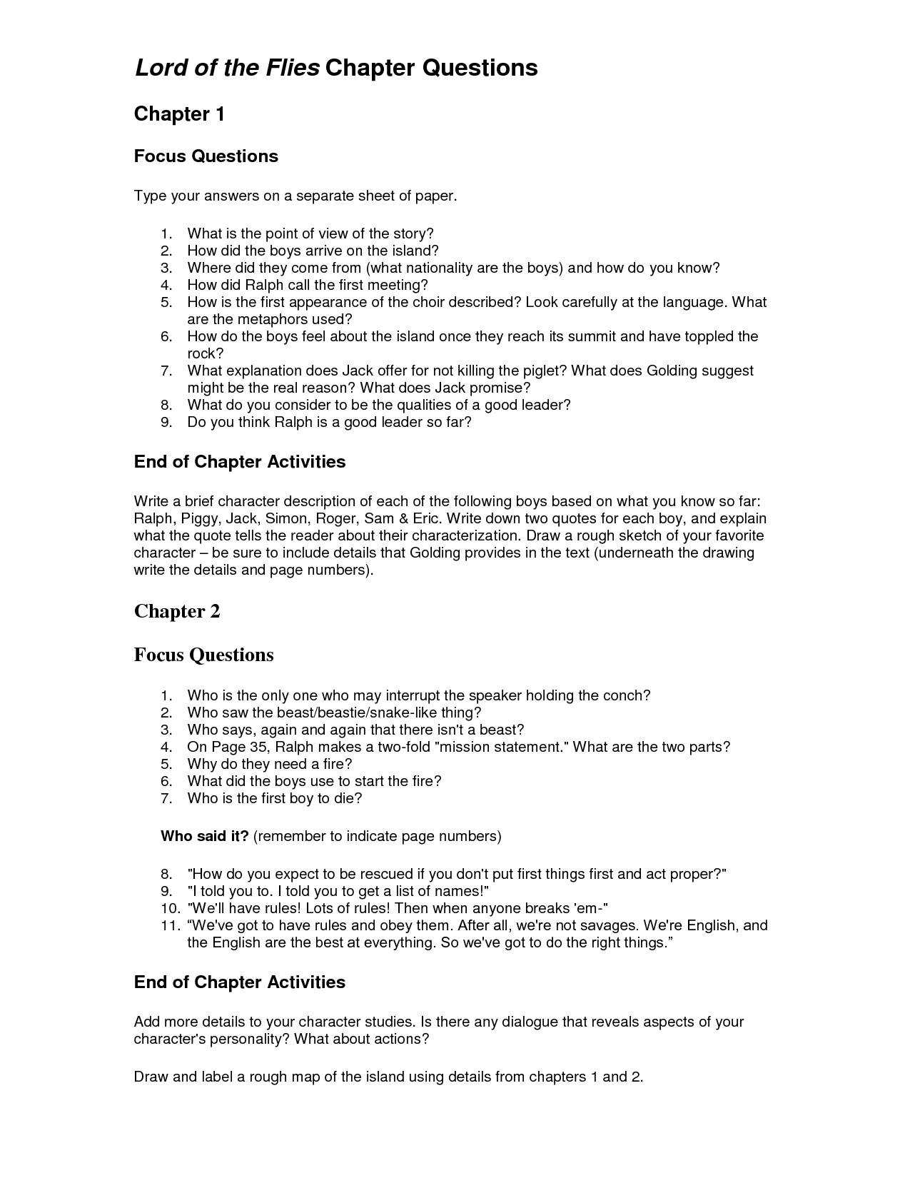 lord of the flies gcse essay questions