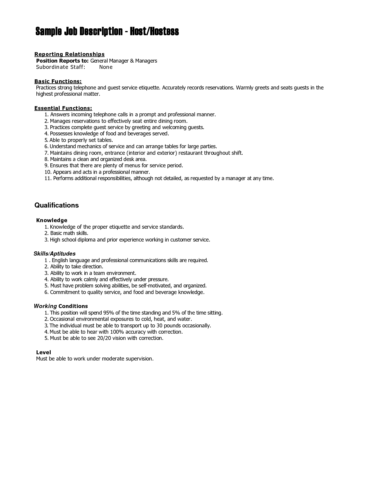 Hostess Job Description For Resume – Hostess Job Description