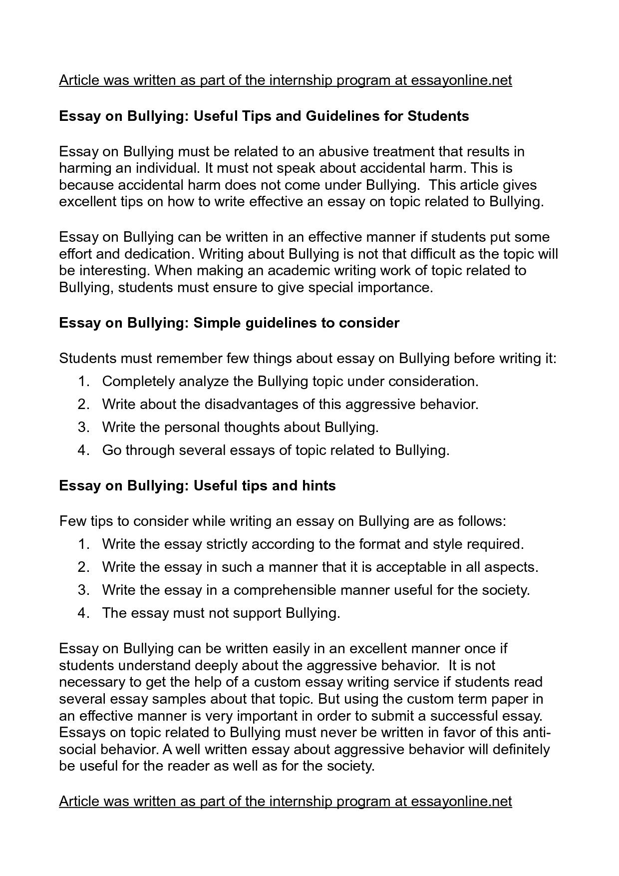 essays bullying essays