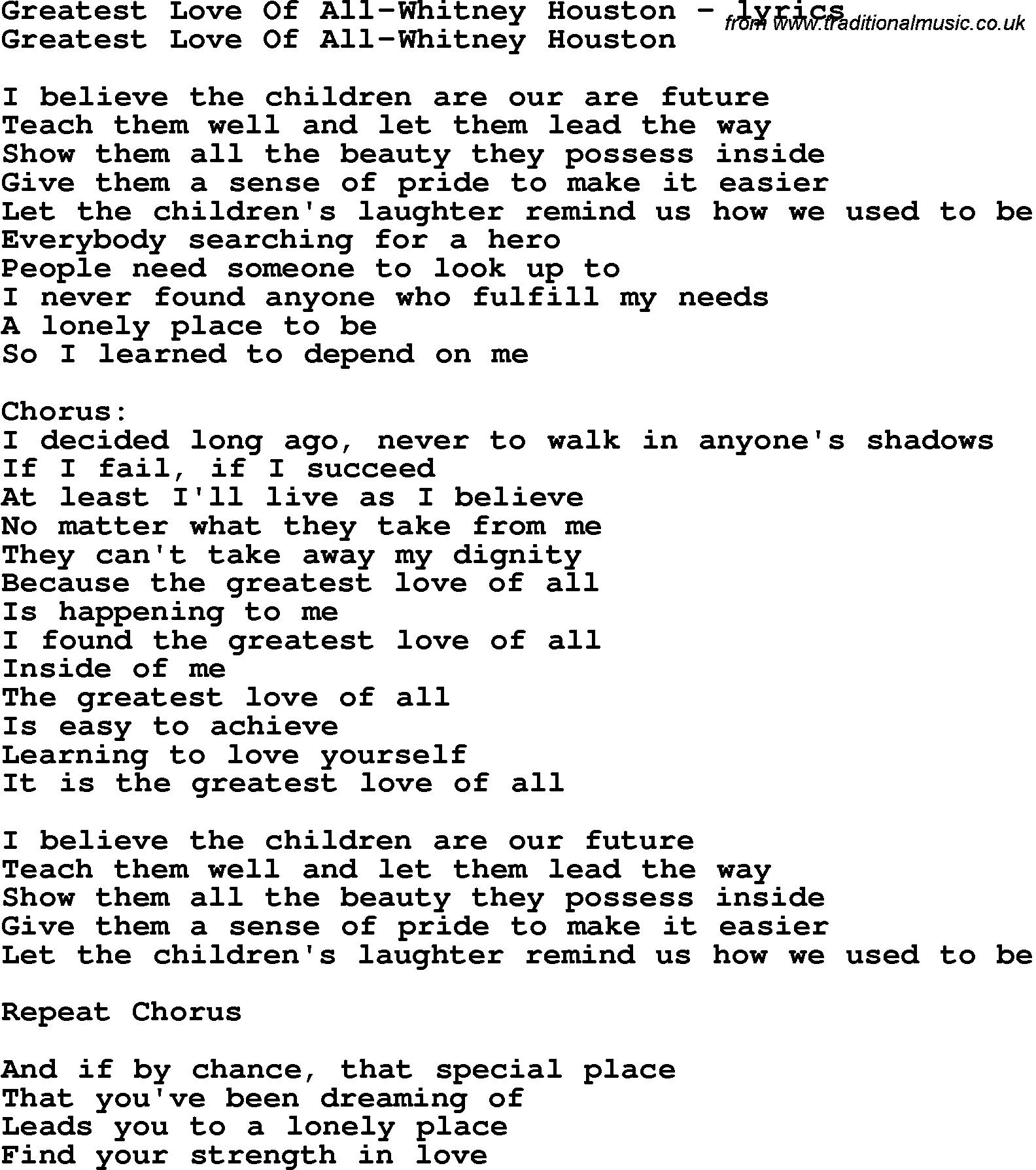 Greatest Song Lyrics Quotes: Whitney Houston Lyric Quotes. QuotesGram