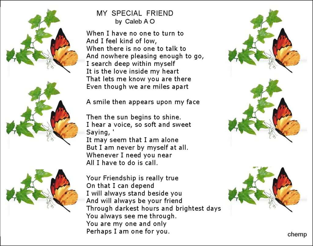 Short Friend Poems For Kids