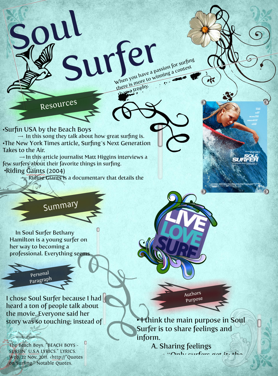 soul surfer book report essay Create a first-rate book report  what did you like what didn't you like remember that you don't have to enjoy a book to do a good report on it.