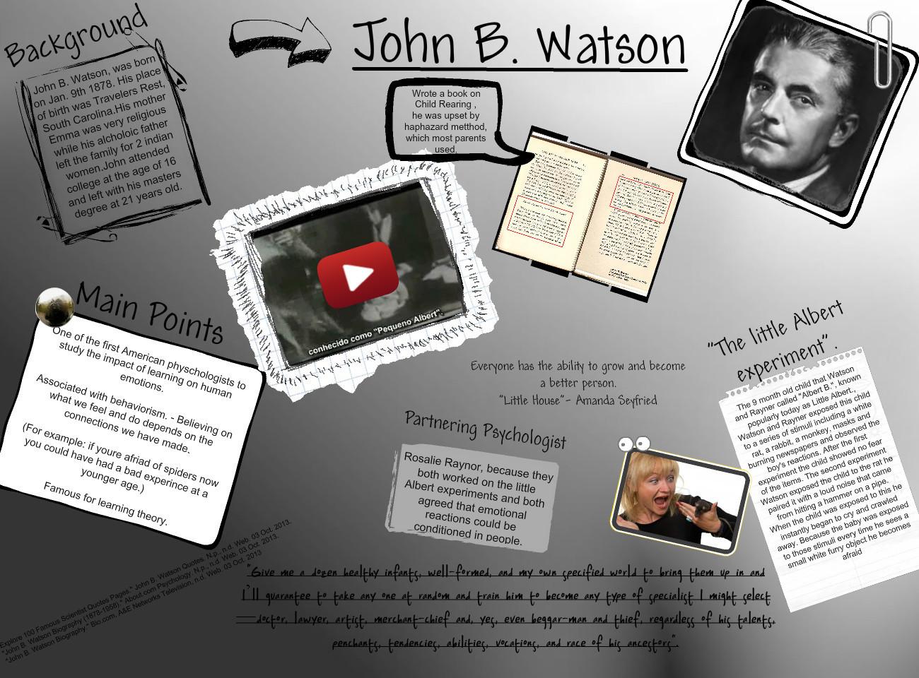 letter to john b watson John broadus watson (january 9, 1878 – september 25, 1958) was an american psychologist who established the psychological school of behaviorism, after doing research on animal behavior.