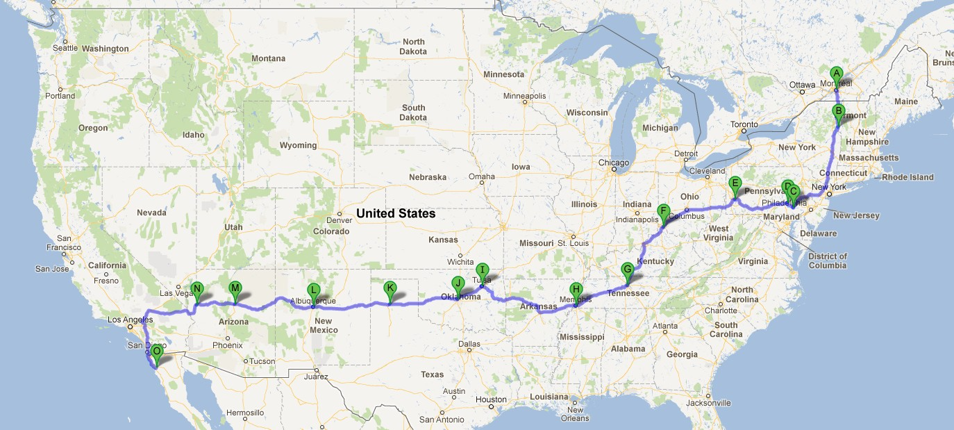 Route  ROAD TRIP USA Route  Map This Page Has Travelled To - Map of us 66