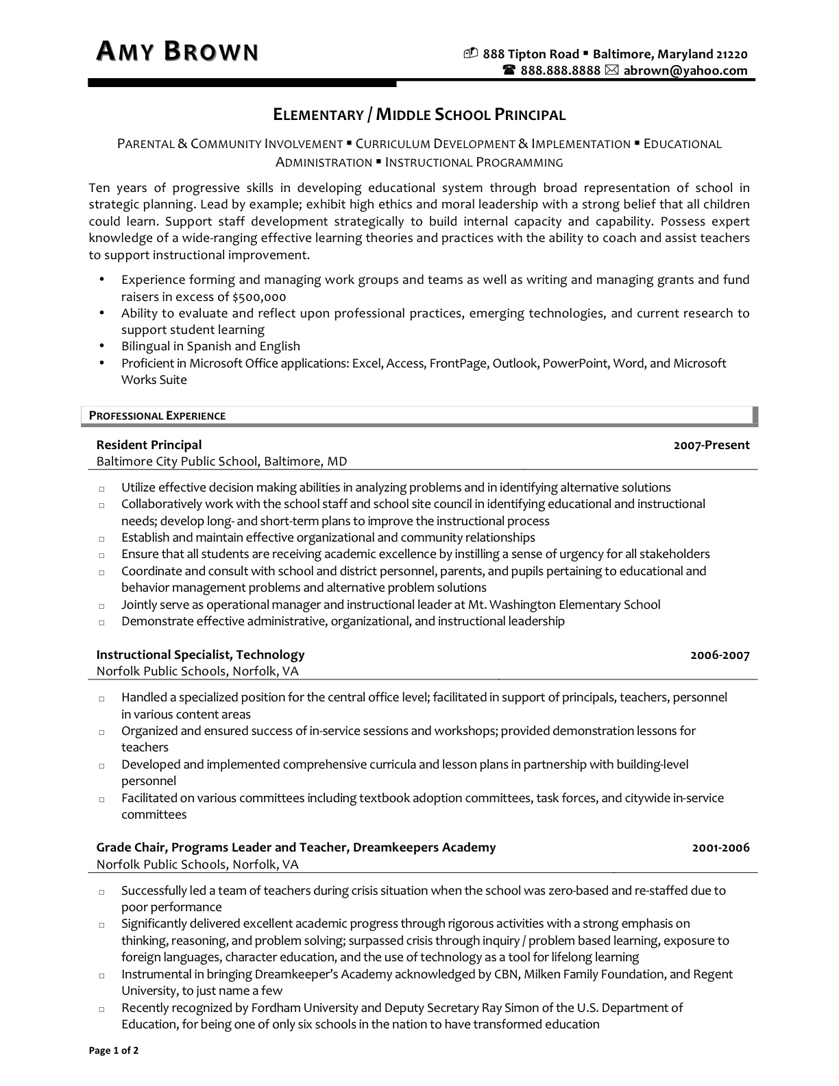 Resume Middle School Resume sample middle school teacher resume for bank job sharepoint administrator salary 1606687323 elementary 20school 20principal 1 middl